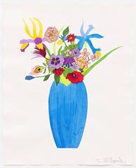 Blue Vase on Antique Paper