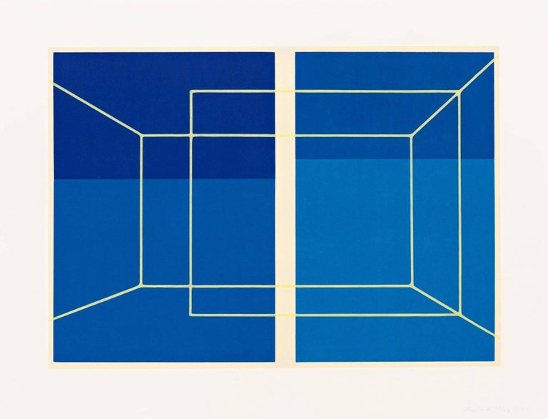 Kate Shepherd Abstract Print - Lit Lines on Four Blues, One Transparent Wall