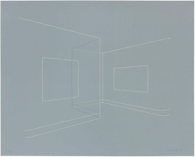 Kate Shepherd Abstract Print - Floating Image, Transparent Walls, Thread Lines on Grey