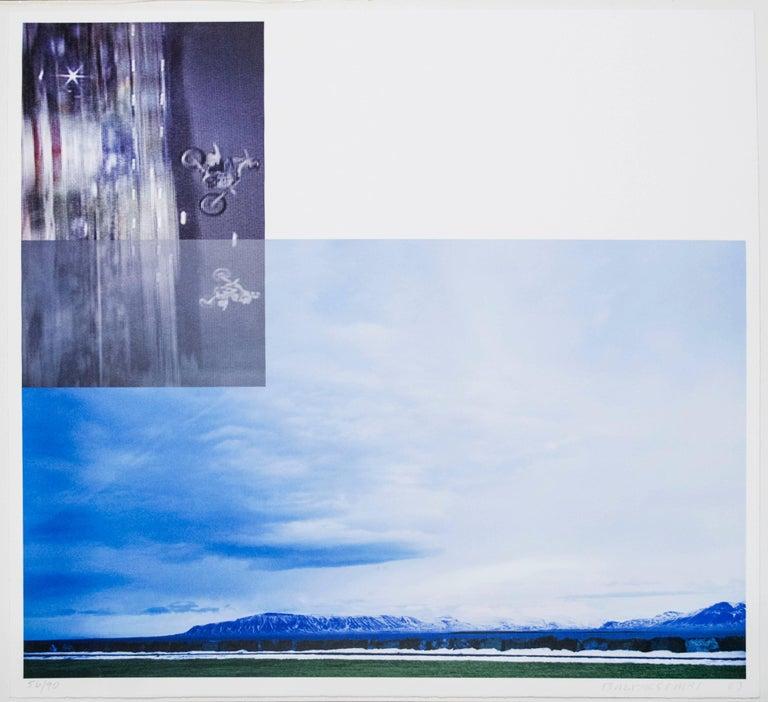 John Baldessari Landscape Print - Overlap Series: Double Motorcyclists and Landscape (Icelandic)