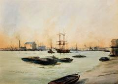 Limehouse Reach, River Thames. Original watercolor by William Birchall from 1920
