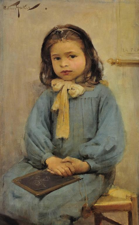 French schoolgirl - Painting by Arthur Hacker