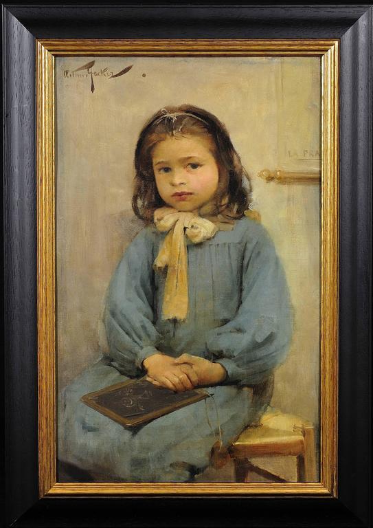 Arthur Hacker Portrait Painting - French schoolgirl