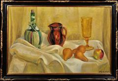 Still life of fruit, jug, wine bottle and glass