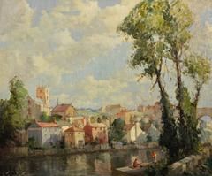 River Nidd, Knaresborough, Yorkshire. Original oil painting. WW1 Rifleman.