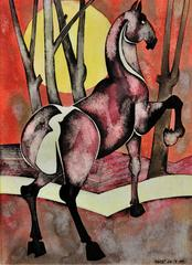 Horse with rising sun
