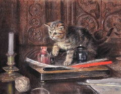 Discovery and mischief. Tabby kitten playing on a writing desk. Edwardian scene.