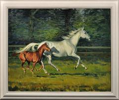 Grey mare with foal. Original oil from this esteemed equestrian artist. 1970