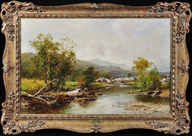 David Bates b.1840 Landscape Painting - A village in mid-Wales. Original oil by this Royal Worcester apprentice. 1895