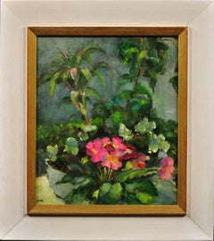 Pink Primulas and a collection of potted house plants. Original still life oil.