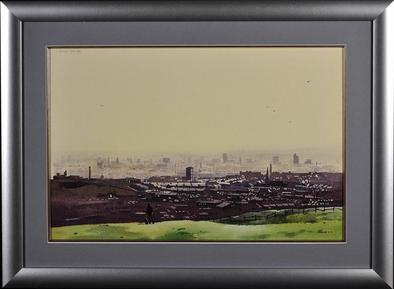 Oldham from the surrounding hills. Original framed watercolour dated 1984. - Art by Robert Littleford