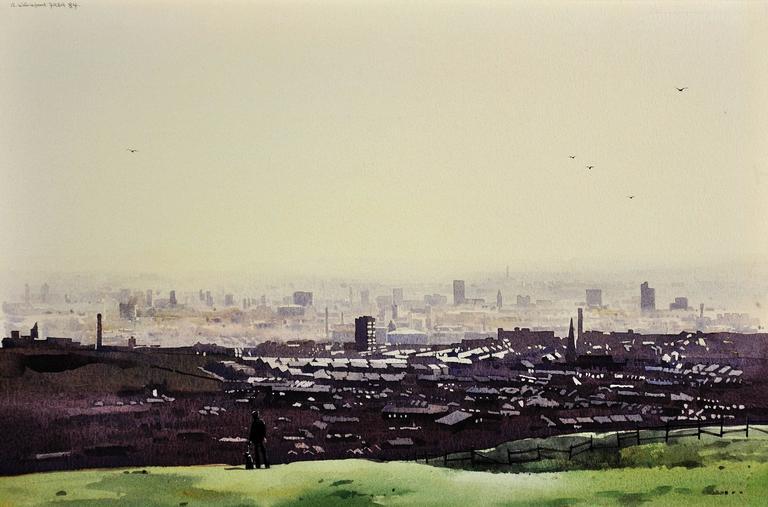 Robert Littleford Landscape Art - Oldham from the surrounding hills. Original framed watercolour dated 1984.
