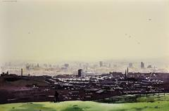 Oldham from the surrounding hills. Original framed watercolour dated 1984.