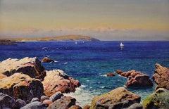 Trwyn y Penrhyn, Cemaes Bay, Anglesey, Wales, framed original watercolor 1922