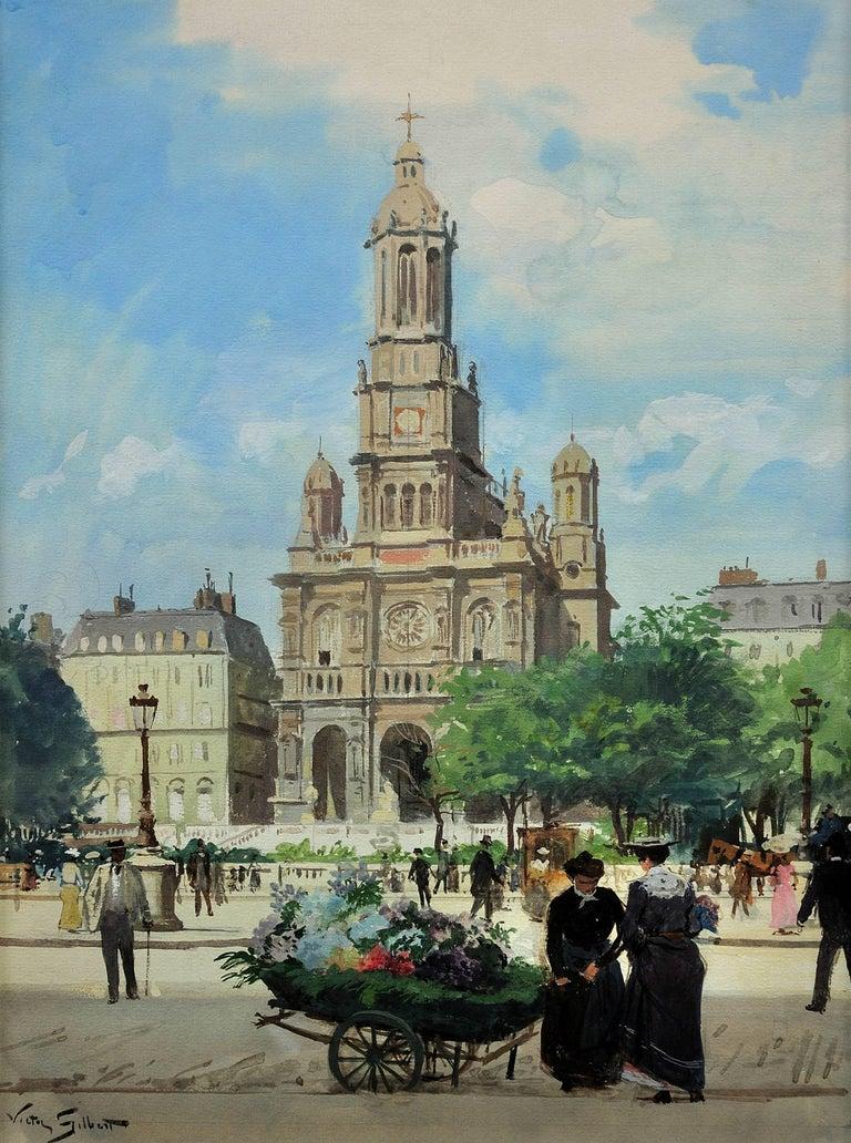 L' Église de la Sainte-Trinité, Place de la Trinité, Paris. Original watercolor. - Art by Victor Gabriel Gilbert