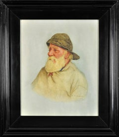 Portrait of a Newlyn fisherman. Fascinating social record of fisherfolk. 1928