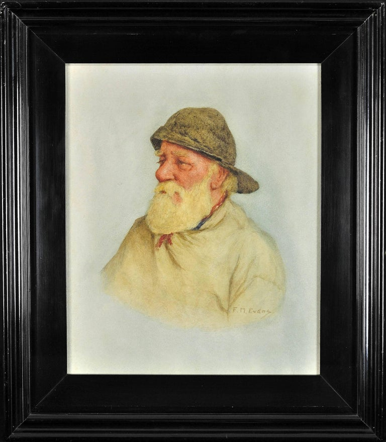 Portrait of a Newlyn fisherman. Fascinating social record of fisherfolk. 1928 - Art by Frederick James McNamara Evans