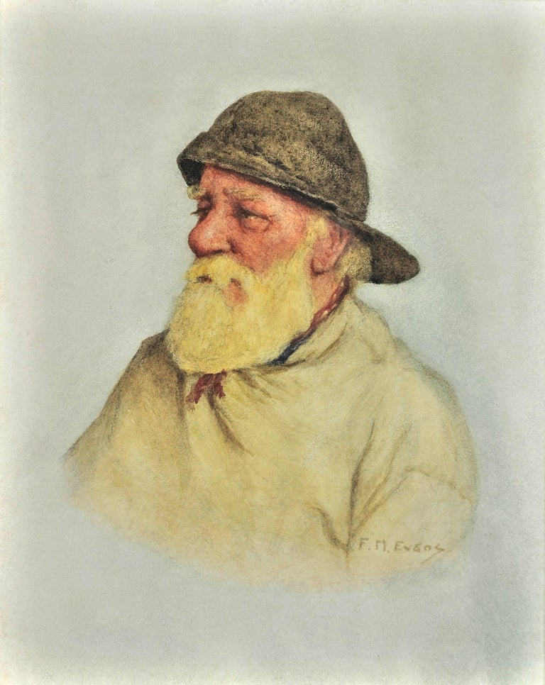 Portrait of a Newlyn fisherman. Fascinating social record of fisherfolk. 1928 - Realist Art by Frederick James McNamara Evans