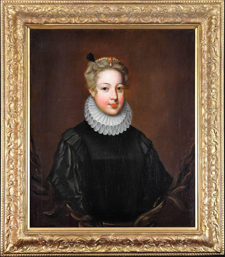 Half portrait of a young noble lady in black satin doublet,white ruff and pearls