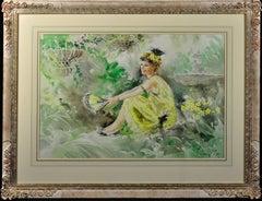 Roaring Twenties. Original Gordon King Watercolor. Modern British. Flapper Girl.