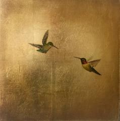 Hummingbirds in Golden Sky II