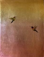Hummingbirds in Gold & Red