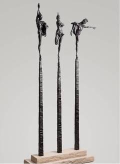 Contemporary Nude Spires I-III Column Suite, Blanc Noir