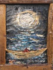 Paper Boats. Contemporary figurative/landscape painting, collage with wood, 2015