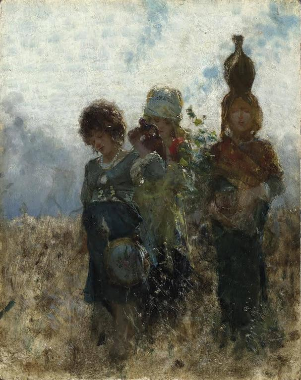 Going to market - Oil Figurative painting - Impressionism - 1872