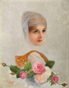 The bride. A lady in wedding dress with roses, Italian School, second half XIX