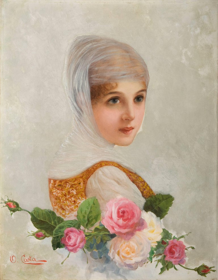 Oreste Costa - The bride. A lady in wedding dress with roses ...