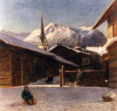 The flowers of the snow, 1907. Italian school, Alpine landscape,oil painting