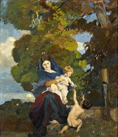 Motherhood. Italian Venice school, 1910. Figurative painting, oil on board.