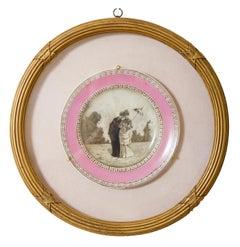 Walking. Italian & European impressionism, 19th century, English porcelain plate