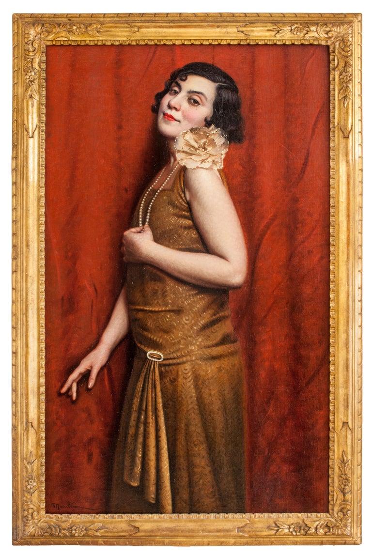 Tina (Portrait of his wife). Oil on canvas, Italian school XX, woman portrait