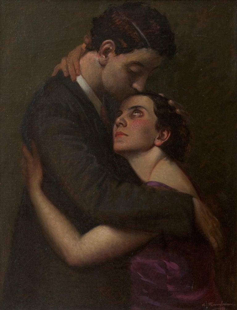 The Kiss. Oil on canvas, Italian school XX, woman and man portrait, 1928
