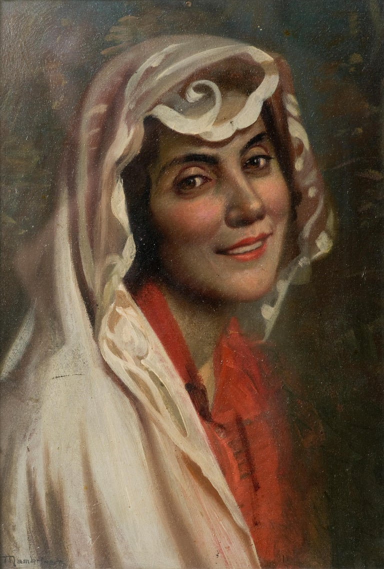 Female portrait. Oil on cardboard, Italian school XX, woman portrait with veil
