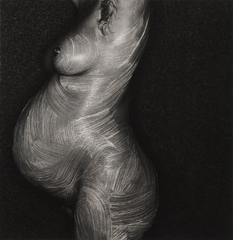 Chaterine Lategan. Black & white portrait, nude photography of future mom, 1980 - Modern Photograph by Barry Lategan