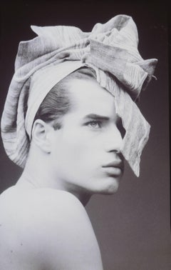 Prêt à porter, April 1985. Man portrait, black and white fashion photography