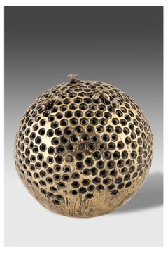 Honeycomb with bees 2000 by Jessica Carrol. Contemporary sculpture in bronze