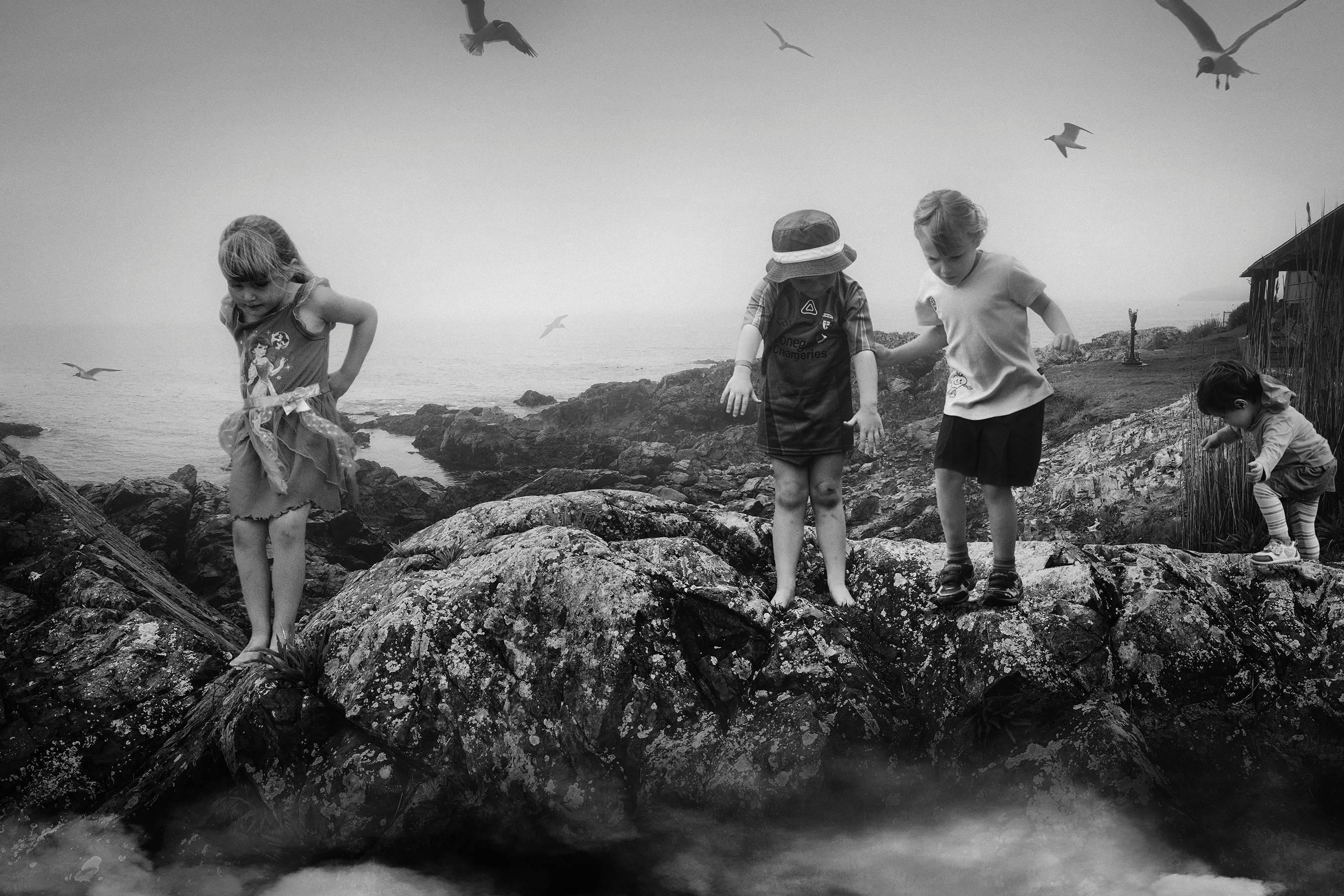 Jump (black and white, art with children, landscape, photography)