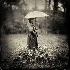 Tears for Tulips- 33 x 33 in black and white photography features man in nature
