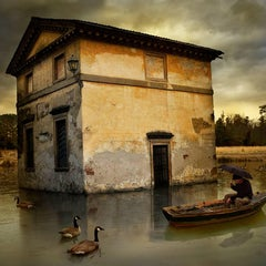 Rain for Galileo- 20 x 20 inch color photomontage print by tom chambers
