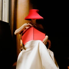 Bernadette in Red Hat with Book, color fashion photography- 20 x 20 inches