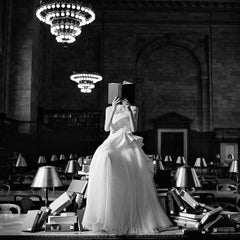 Flynn Reading on a Pile of Books- 20 x 20 inch black and white fashion photo