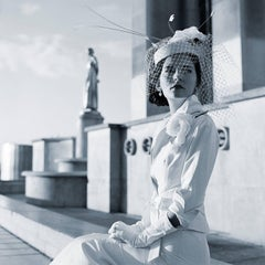 Mira Seated in Trocadero, Paris, France-20 x 20 inch black and white photograph