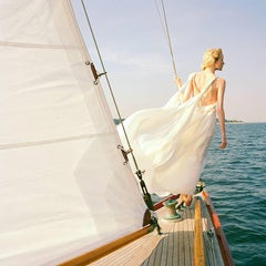 Edythe Standing on edge of sailboat, Larchmont, New York
