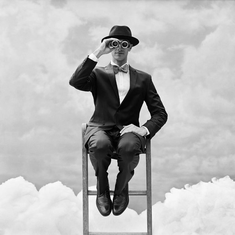 Rodney Smith Black and White Photograph - Reed Perched on the top of Ladder with Binoculars, Snedens Landing, NY