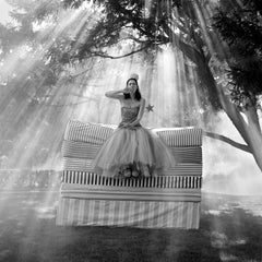 Zoe on Top of Mattress Stack- black and white 20x 20 inch fashion photograph