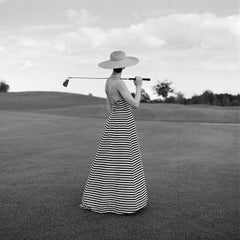 Caroline Golfing in Striped Dress, St. Augustine FL